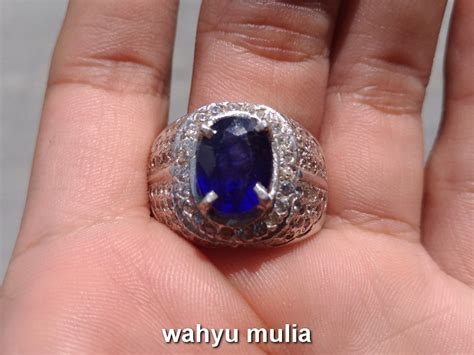 batu cincin permata natural blue safir asli kode 734