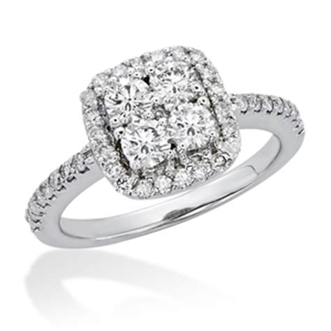14kt diamond square cluster engagement ring hl art jewelers