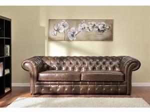 canapes et fauteuil chesterfield cuir 2 coloris clotaire With tapis de course avec canapé chesterfield cuir vieilli