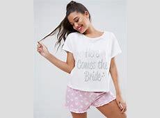 ASOS ASOS BRIDAL Here Comes The Bride Tee & Short Pajama Set
