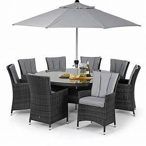 Maze rattan la 8 seat round rattan garden furniture set for Garden furniture covers 8 seater