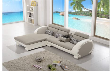 Canapé D'angle Moderne En Cuir  Elios  Gris Et Blanc
