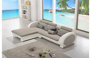 Canapé D Angle Cuir Gris : canap d 39 angle moderne en cuir elios gris et blanc angle gauche teck in home ~ Melissatoandfro.com Idées de Décoration