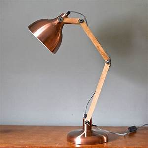 copper and wood angled table lamp by the forest co With angled floor lamp wood