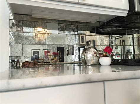 mirror tiles kitchen antique mirror backsplash installed 4156