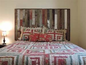 rustic reclaimed barn wood wall mounted country headboard With barnwood headboard king