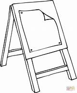 Easel Coloring Class Drawing Printable Colouring Template Clipart Clip Sketch sketch template