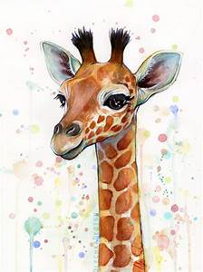 Baby Giraffe Watercolor Painting, Cute Animals by ...