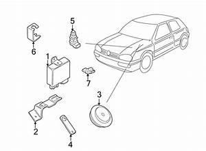 Volkswagen Cabrio Bracket  Horn  Alarm  Front  Front
