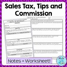 Percents  Sales Tax, Tips, And Commission  Notes, Task Cards, And Worksheet Math