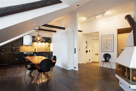 attic kitchen designs swedish attic apartment 1384