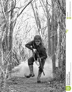 Soldier Running From Explosion Stock Photography - Image ...
