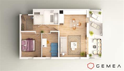 1 bedroom house plans perspective 3d intérieure réalistes
