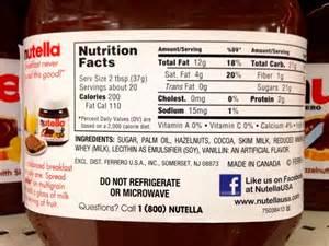 Nutella Ingredients Label