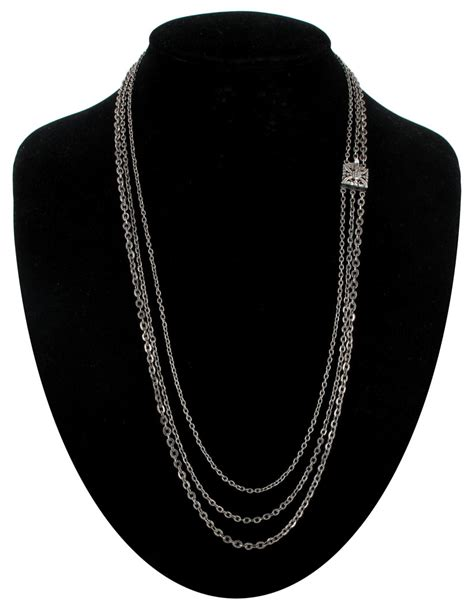 vintage  strand chain layered necklace  silver tone