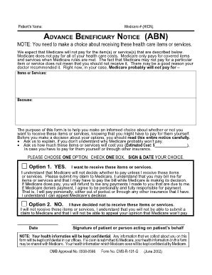 abn form pdf medicare abn form fill printable fillable