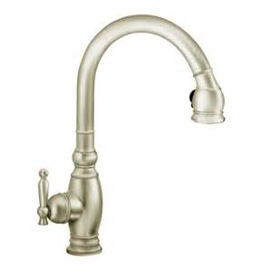 shop kohler vinnata vibrant brushed nickel 1 handle pull kitchen faucet at lowes com