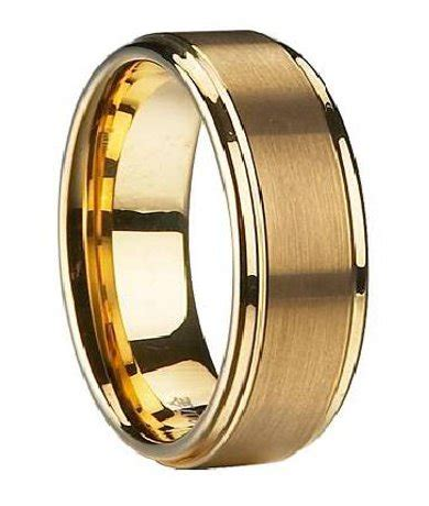 mens wedding band  gold plated tungsten traditional mm