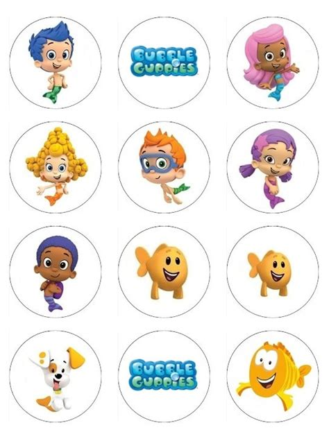 guppies cake topper templates guppies edible cupcake or cookie toppers 12