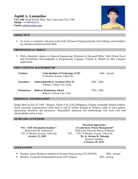 sle resume for jollibee service crew sle resume