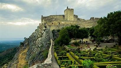 Portugal Marvao Castle Stone Flowerbeds 1920 Background