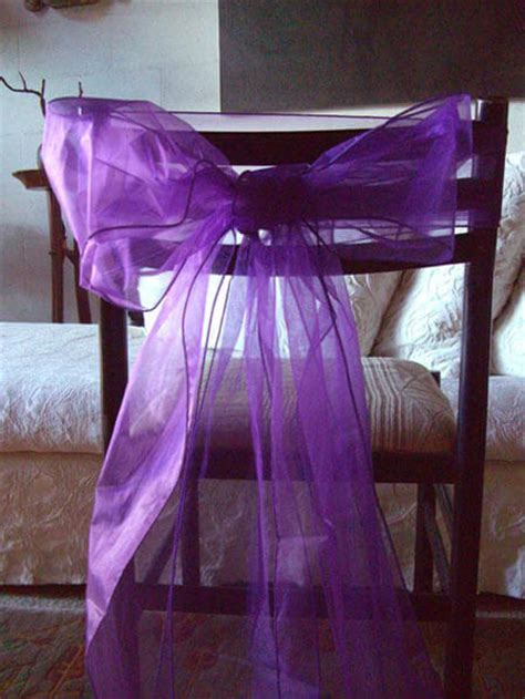 organza chair bows in purple pack of 10