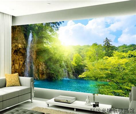 large tv wall mural beautiful scenery wallpaper