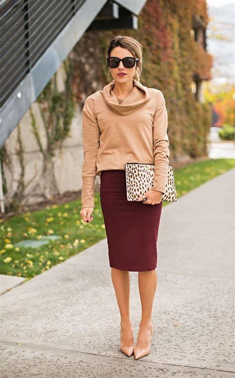 Womenu0026#39;s Tan Cowl-neck Sweater Burgundy Pencil Skirt Beige Leather Pumps Beige Leopard Leather ...