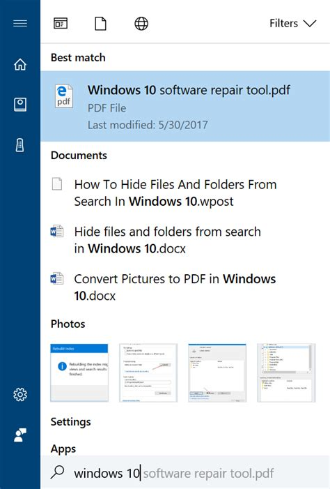 how to hide files and folders from search in windows 10