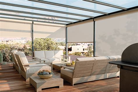 graber exterior solar shades with motorized lift patio