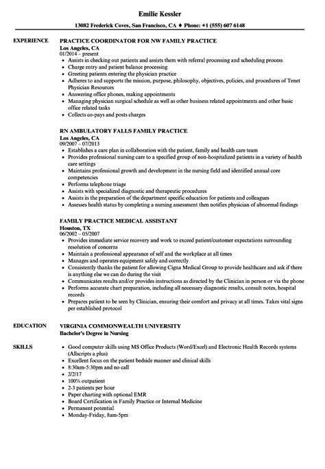 Practice Resume by Family Practice Resume Sles Velvet