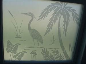 Frosted glass decals etched glass heron decals overlaid for Etched glass vinyl lettering