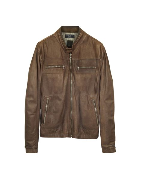 genuine leather motorcycle jacket forzieri genuine leather brown motorcycle jacket in brown