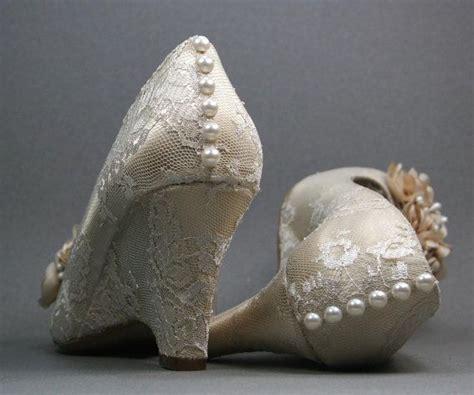 Custom Wedding Shoes -- Dark Ivory Peep Toe Wedding Wedges