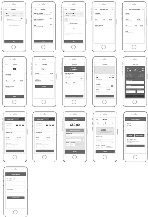 Axure Iphone mobile UI for ecommerce checkout