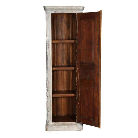 Thin Armoire by Sirmons Whitewashed Single Door Rustic Solid Wood