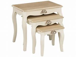 Cream wood finish nest of 3 piece coffee end lamp side for Cream coffee table set
