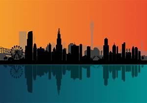 Vector Chicago Night Skyline - Download Free Vector Art ...