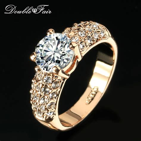 Engagement Wedding Rings Cz Diamond Rose Gold Plated