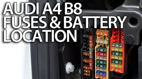 where are fuses and battery in audi a4 b8 fusebox location positive terminal for jumpstart