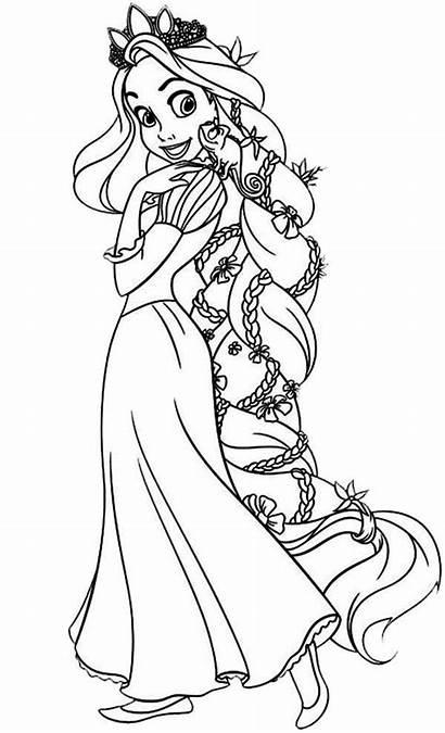 Rapunzel Coloring Pages Hair Princess Disney Printable