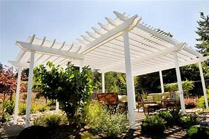 Exterior: Modern Wooden Pergola Covers Design In Cool
