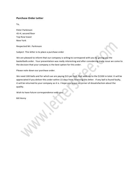 purchase order letter order letter sample order letter