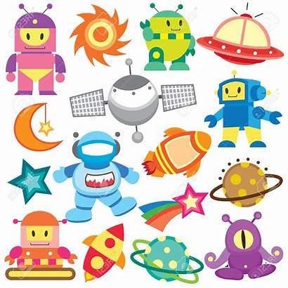 Space Vector Outer Clip Clipart Robot Illustrations