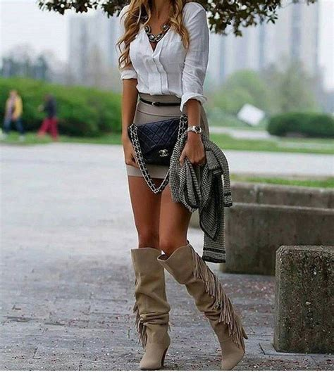 How to Style Grey Knee High Boots Outfit Ideas for Women - FMag.com