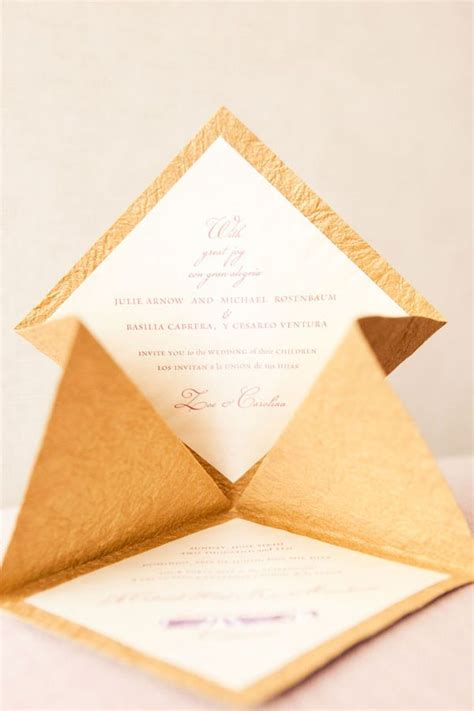 diy wedding invitation by style me pretty we love how the cardstock was folded to give this