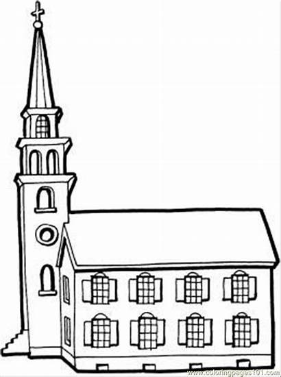 Coloring Church Pages Building Tower Buildings Printable