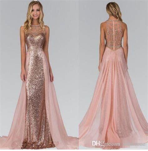 chic rose gold sequined bridesmaid dresses