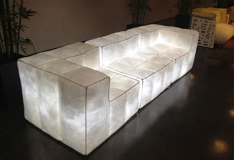 white designer shelf air filled sofa collection glowing in the by