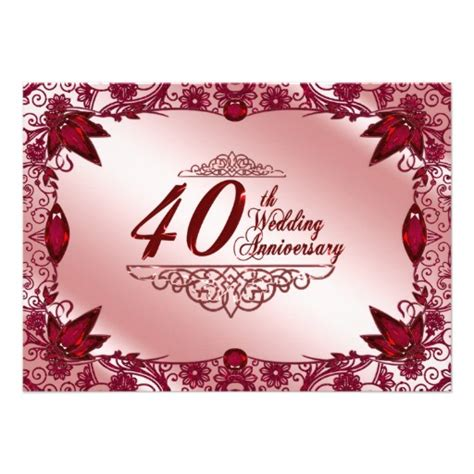 40th wedding anniversary 40th wedding anniversary invitation 11 cm x 16 cm invitation card zazzle